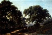 chemin dans un paysage boisé by louis humbert