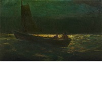 boating at night (sailboat manned by two men) by robert loftin newman