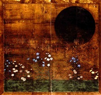 autumn grasses and silver moon by japanese school-rimpa (18)
