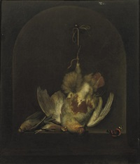 a dead partridge hanging from a nail with two other dead birds in a painted niche by ottmar elliger the elder