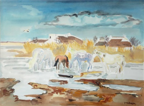les chevaux en camargue by yves brayer
