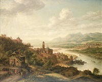 a rhenish river landscape with figures by robert griffier