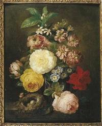 nature morte au vase de fleurs et nid d'oiseau sur un entablement by moise jacobber