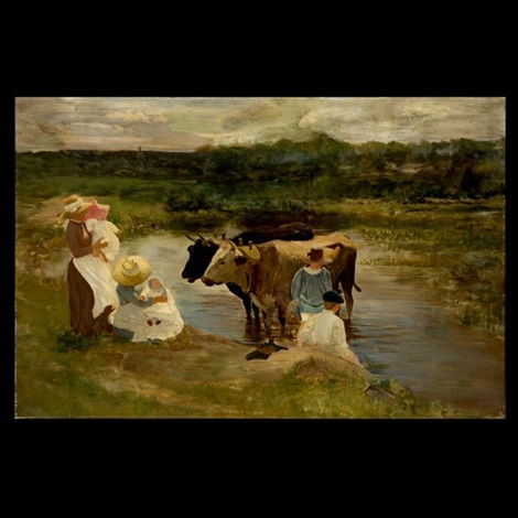 family group of oxen by louis comfort tiffany