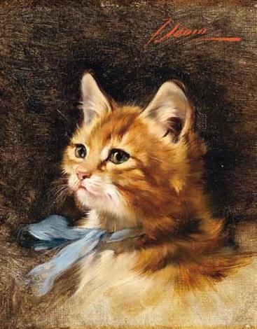sitzendes kätzchen mit blauer schleife um den hals by julius adam the younger