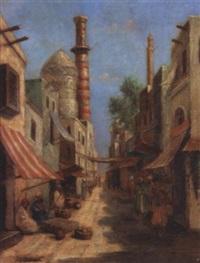 scène de rue au caire by charles wolfert
