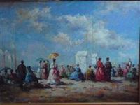 scène de plage en normandie : femmes aux ombrelles by j. girardier