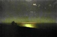 chemin serpentant en bord de mer à la tombée de la nuit by gevork zaharovitch bachindjarian