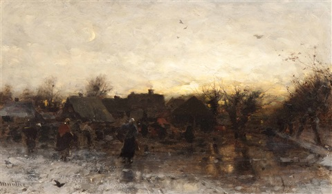 winter fun in the village at dusk by gerhard arij ludwig morgenstjerne munthe