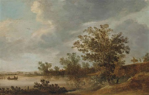 a river landscape with fishermen pulling in their nets by jan josefsz van goyen