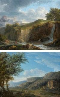 paysages italiens animés de cavaliers (pair) by jean victor bertin