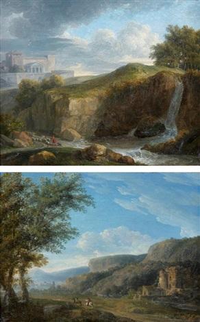 paysages italiens animés de cavaliers pair by jean victor bertin