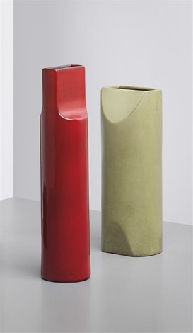 vase model no 585 with another vase both from the fishietto series by ettore sottsass