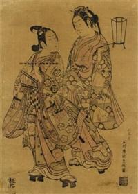 sanogawa ichimatsu i as yoshitsune and segawa kichiji i as reizei (benzuri-e) by ishikawa (nishimura shigenobu) toyonobu