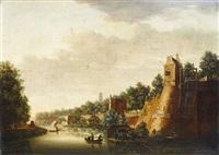 vue d'une ville fortifiée devant un canal by pieter jan van liender