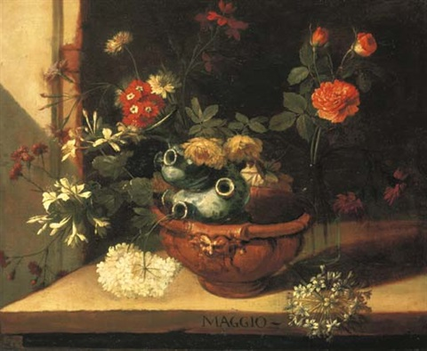 a ceramic vase with roses hortensias and other flowers in a clay pot on a stone ledge one of a series of months by niccolino van houbraken