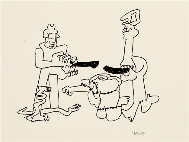 hommes serpents et gourdins by roberto matta