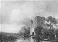 landschap met jagers in roeiboot bij ruine by jan hendrik willem hoedt