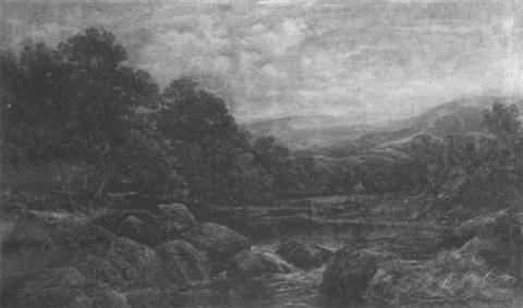 an angler on a river by william henry waring