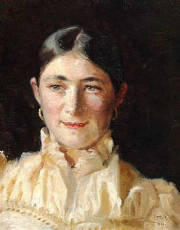 portrait of anna holst in a yellow dress by michael peter ancher