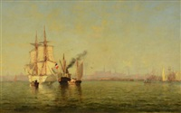 morning, boston harbor by walter franklin lansil