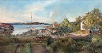 motiv från vaxholm, norrhamnen by axel peter