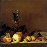fruits et verre rohmer sur un entablement by theodorus (dirk) smits