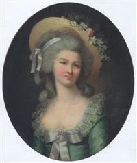 portrait de jeune femme au chapeau fleuri by marie-victoire lemoine