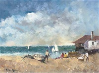 beach scene, st. ives (+ sailing boats, st. ives; 2 works) by john ambrose
