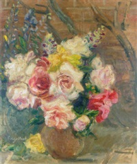 roses and lupins by florence engelbach