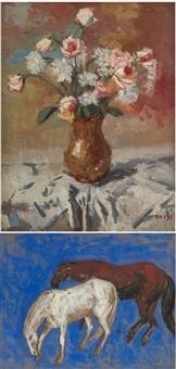 vase fleuri (+ deux chevaux; 2 works) by sa dji