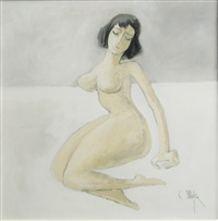 nude sitting by constantin piliuta