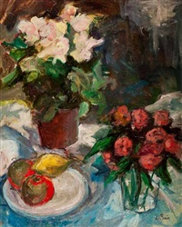 still life with flowers and fruit by donald bain