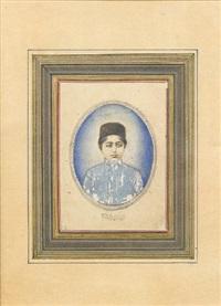 a portrait of ahmad shah qajar by sadr al-din al-husaini