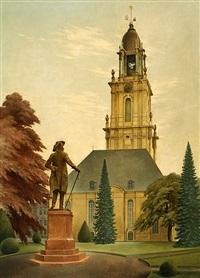 die garnisonskirche in potsdam mit dem standbild friedrichs des großen by heinrich basedow