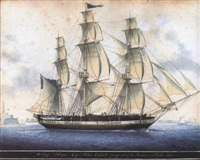ship anne, capt. john colvill going out of the harbour of malta 1814 by nicolas s. cammillieri