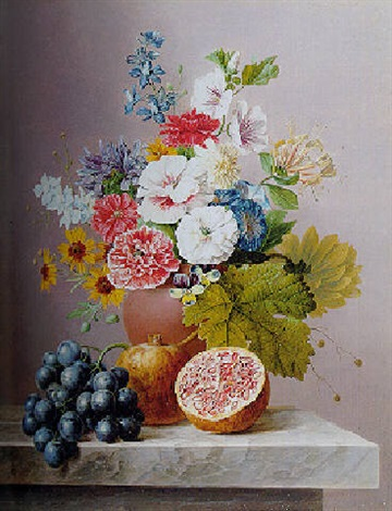 poppies, a hollyhock, honeysuckle, pansies and other flowers with grapes and pomegranates by arnoldus bloemers