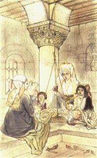 femmes juives devant un enfant dans un berceau by camille rogier