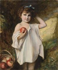 niña con manzana by fernando alvarez de sotomayor y zaragoza