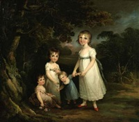 portrait of four children in a landscape by maria spilsbury