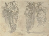 three studies of the holy family by giuseppe cades