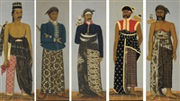 portrait of a javanese official (+ 4 others; 5 works) by indonesian school (19)