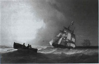 frigates at sea by william garthwaite