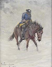 ridande karolin i snöstorm by alexander langlet