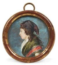 portrait de madame agathe-françoise lemoine née bonvallet, en buste vers la gauche by jacques antoine marie lemoine