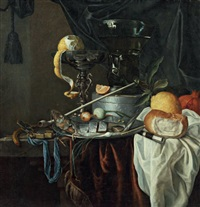 nature morte au verre roemer et à la pipe by jan jansz heem the younger