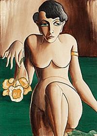 kvinna med blomma by carl birger höög