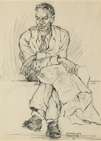 untitled (man with newspaper and crossed legs) by charles wilbert white