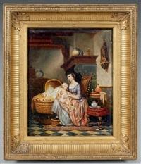 jeune mère et son enfant dans un intérieur by pierre paul alouis hunin