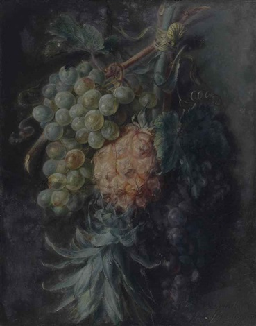 nature morte à l'ananas et aux grappes de raisins by cornelis van spaendonck